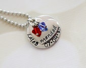 """Congenital Heart Defect (CHD) Awareness - """"Mended"""" Heart Necklace w/ Swarovski Crystals and Custom Name/Date Pendant"""