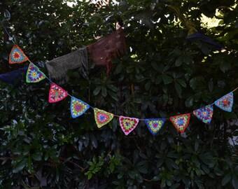 Multicoloured festive crochet garland granny triangle 2