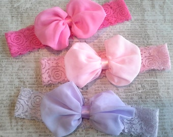 set 3 headbands, baby headbands,easter headbands, spring headband, chiffon bow headbands,skin,lace headbands, pastel headbands, bow headband