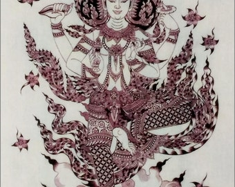 Thai traditional art of Vishnu by printing on Natural colors cloth