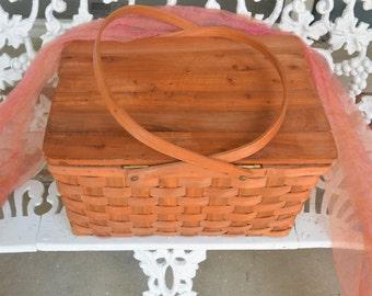 Picnic Basket - Wicker, Wood, Great Construction & Color - Vintage - Fabulous!