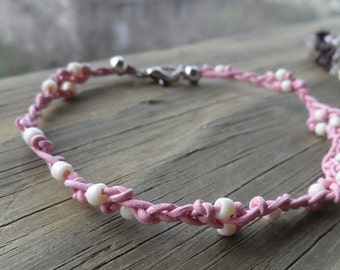 Delicate Baby Pink Leather and Cream Toho Bead Bracelet with Lobster clasp