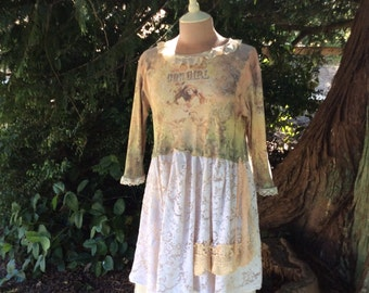 Fairytale Tunic Upcycled Romantic Gypsy Cowgirl Fantasy