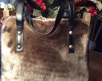 Vintage 1960 Boffel Productions Pony Hair/leather Fur Handbag