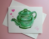 "Hand Drawn Greeting Card- ""Jade Teapot"""