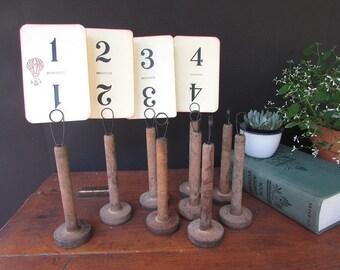Rustic Table Number Holder Vintage Wedding Wooden Textile Spool