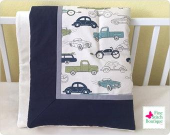Felix Retro Rides BABY QUILT BLANKET - Vintage Cars Baby Blanket - Baby Boy Blanket - Retro Rides Toddler Blanket - Made-To-Order