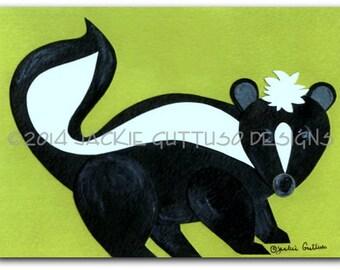 """Woodland nursery art, Skunk giclee print 5 x 7"""", Woodland nursery collage, Forest nursery, Skunk decor, Animal collage, Skunk painting print"""