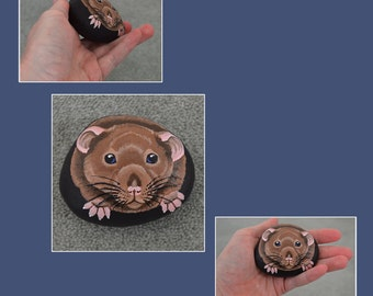 Agouti Rat Stone - Hand Painted Painted Pebble