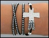 Sideways Hammered CROSS Wrap Bracelet - Silver Stackable Wrap Studs Faux Suede Cord Adjustable Boho Bracelet - By Alex and Renee USA   198