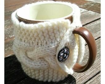 Hand knitted cream cabled mug cosy - mug hug - mug sleeve - mug cover