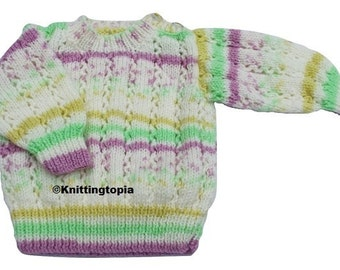 Hand knitted baby jumper in cream, mauve, green and yellow 3 - 6 months - knitted baby clothes - children's sweater