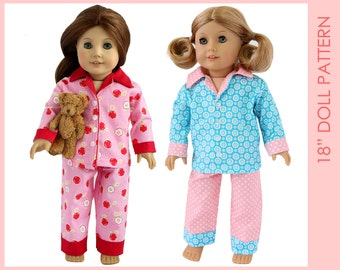 Doll PAJAMA pattern, American girl doll clothes pattern pdf, 18 inch doll clothes sewing pattern, doll clothing pattern, DOLL PAJAMA