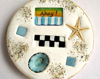 Summer coaster. Absorbent clay, starfish and glass coaster for your boat or beach home. Ahoy!  FREE SHIPPING