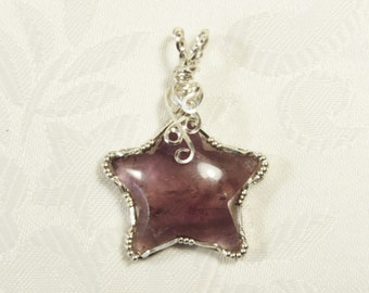 Amethyst Star Pendant, Sterling Silver, Wire Wrapped