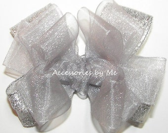 Silver Hair Bow, Baby 3 Inch Bow Clip, Gray Organza Metallic Hair Clips, Toddler Children's Dressy Silver Bow, Pageant Flower Girl Hairbows