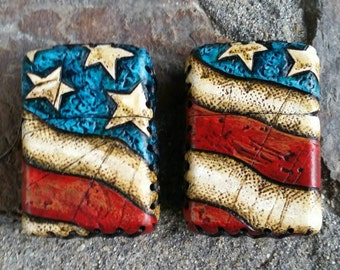 Wasteland Oddities Custom Leather Patriot Lighter- Hand Tooled, Distressed, Hand Painted American Flag