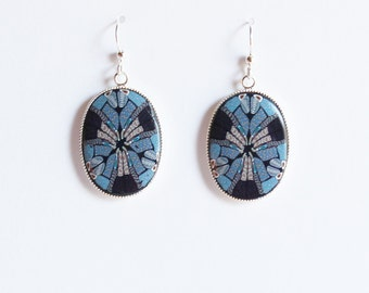 Polymer clay millefiori cane earrings