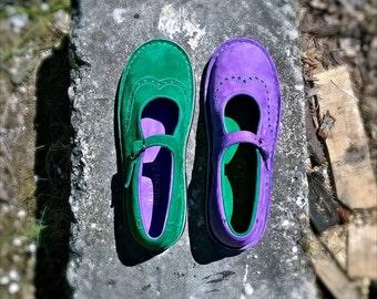 Nubuck maryjanes TEIDE in green and violet