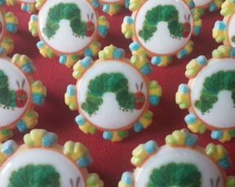 24 ERIC CARLE The Hungry Caterpillar rings for cupcake toppers cake birthday party favors library book toddler preschool first baby shower
