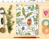 herbs notebook, garden journal, blank, personalized.