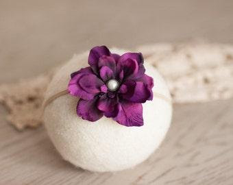 Dark Purple Headband, Eggplant Flower Headband, Purple Newborn Headband, Great Newborn Photo Prop