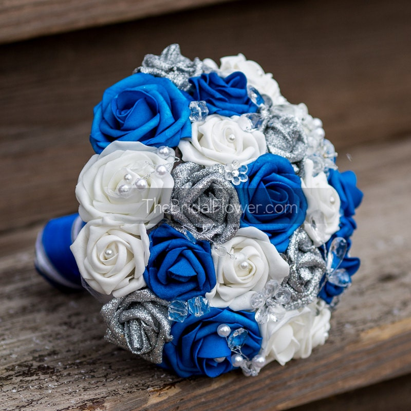 Royal Blue And Silver Wedding Flowers: Royal Blue Wedding Bouquet Royal Blue And By TheBridalFlower