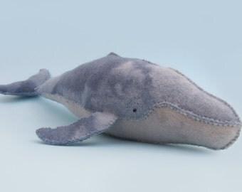 Felt Whale Toy - Handmade from 100% Pure Wool Felt