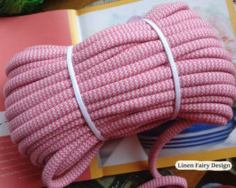 """WHOLESALE 30 meters Cotton Rope Pink and Raw Cotton 10 mm / 0,39"""" Organic Thick Cotton Cord With Filling for Crafts Jewellery Decorations"""