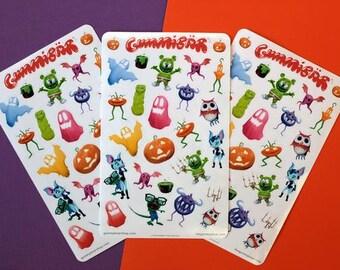 Gummibär (The Gummy Bear) Sticker Sheets ~ Halloween Stickers ~ 3 Sheets ~ Cute Kawaii Character ~