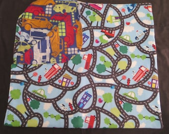 Car Truck Map Flannel Baby Blanket - Double Sided - Receiving Blanket (B4)