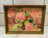 Vintage Rose Painting, Framed Rose Art, 1930s Painting, Aqua Gold Frame