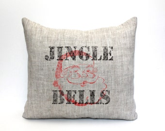 "jingle bells pillow, christmas decor, santa pillow, christmas pillow - ""jingle bells"""