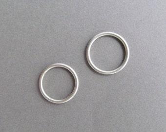 Matching Set of Slim Silver Halo Wedding Bands