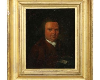 """English Antique Oil Painting, """"Portrait of a Seated Gentleman"""", Finely Detailed, 18th Century, 602BXW13P"""