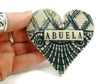 Abuela Heart Ornament, Spanish Grandmother, Christmas Ornament, Abuela Birthday, Spanish Grandma, Grandmother Ornament, Mother's Day Gift
