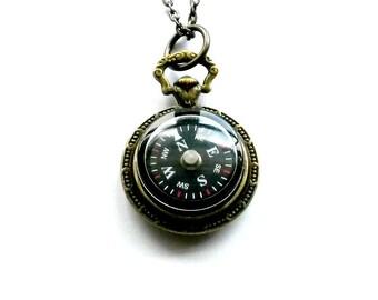 Compass Necklace Nautical Brass Handmade Gift