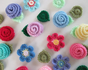 Flower Crochet Pattern, Rose, Flower and Leaf Crochet Pattern, Summer Flowers, Instant Download