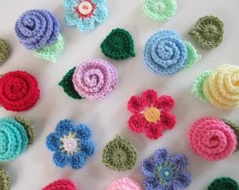 Flower Crochet Pattern, Rose, Flower and Leaf Crochet Pattern, Summer Flowers, Instant Download