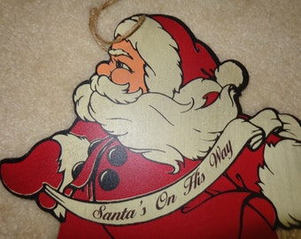 Vintage 1940's Posable Wooden Santa Claus Plaque with Articulated Legs