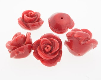 15mm Rose red carved coral, half drilled flower.