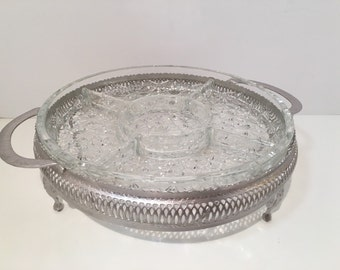 Vintage Daisy & Buttons Silver Tray Sectioned Pressed Glass