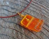 Urban Beach Glass Drilled Orange Necklace - Leather Cord - Bronze - Machine Tumbled Glass