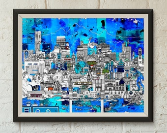 Manchester Skyline in Blue & Turquoise - Gicleé Print