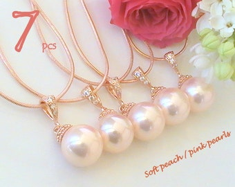 Will You Be My Bridesmaid Gift Set Of 7 10% Off, Pearl Necklace Wedding Jewelry Set, Rose Gold Necklace, Maid of Honor Gift for Bridesmaids