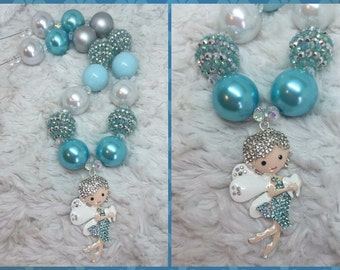 Tooth Fairy Chunky Necklace: Blue, silver, and white beads.