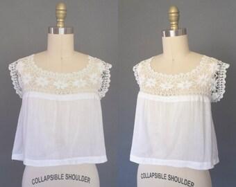 Cosette blouse | 1900s Edwardian crochet camisole | antique La Belle Epoque lawn corset cover