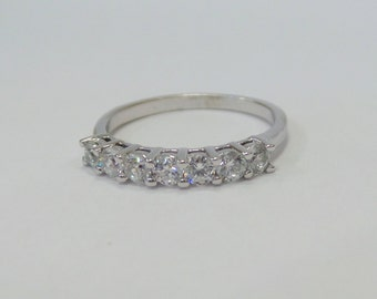 Wedding Band with Diamonds 14k White Gold 0.50cts SI1 Clarity G Color