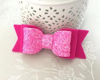 Medium hair bow clip. 100% wool felt and glitter fabric