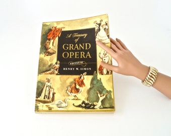 Vintage Music Book/A Treasury of Grand Opera/Colorful and Illustrated Soft Cover Music Book